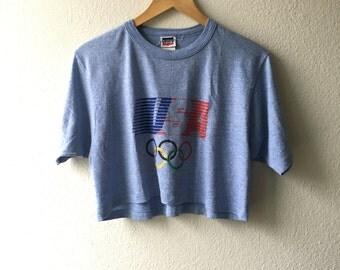 Vintage LEVI'S USA OLYMPICS Crop Top T-Shirt