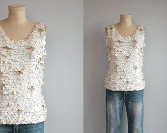 Vintage 1960s Beaded Top / 60s Mod Cream White Sequin Paillettes Sleeveless Sweater Tank