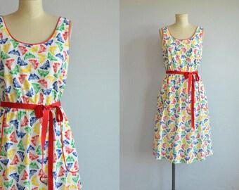 Vintage 70s Dress / 1970s Novelty Butterfly Pint Midi Sundress / Primary Colors