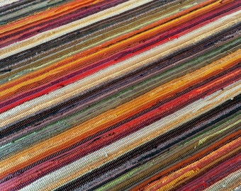 Rag Rug Handwoven Room Size Barn Red, Rust, Amber, Bronze, Olive, and Clay