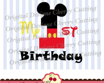 My 1st Birthday SVG DXF cut design,Mickey number 1 Silhouette & Cricut Cut Files -Personal and Commercial Use