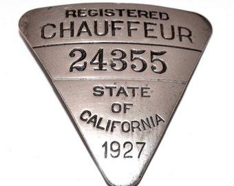 1927 California Chauffeurs Badge