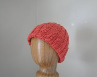 Cinnamon Red Wool Hat for Men, Hand Knit, Ribbed Beanie Toque Stocking Watch Cap