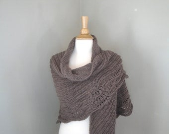Brown Shawl Wrap, Soft Cozy Prayer Shawl, Knitted Wool Acrylic, Extra Large Shawl, Gift for Woman
