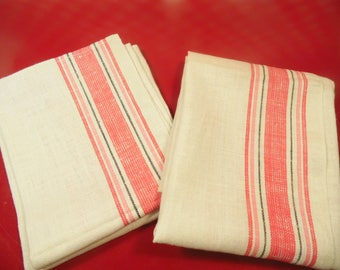 2 Stripe Linen Dish Towels - Red - Made In Poland