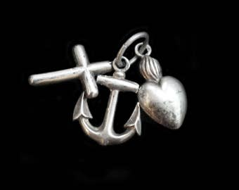 MercurysMoon-Tiny Antique  French Solid Silver Faith, Hope & Charity Charms, Pendant