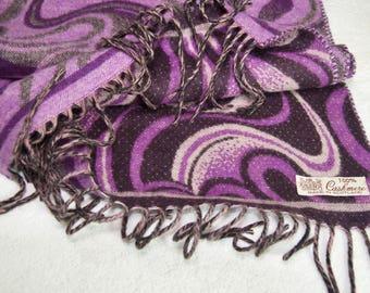Purple Swirl Scottish Cashmere Fringed Scarf