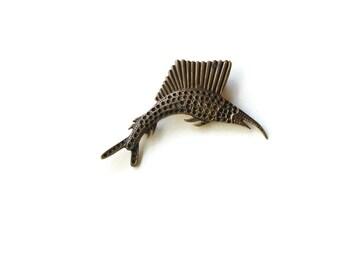 Vintage Bronze Swordfish Brooch