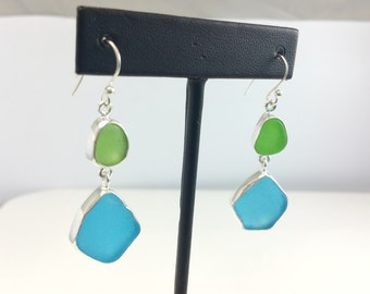 Dual Sea Glass Earrings, Sea glass jewelry, Earrings, Blue, Green, ocean jewelry