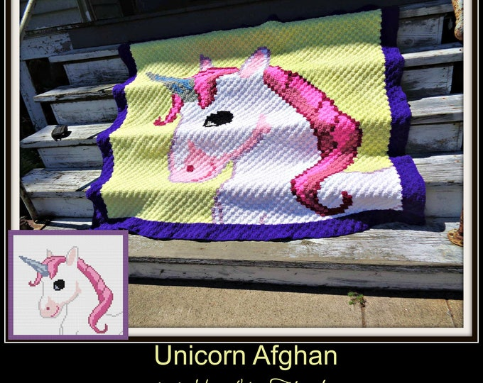 Featured listing image: Unicorn Afghan, Crochet Pattern, C2C Graph, Written Word Chart