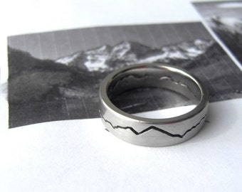 Custom Modern Mountain Ring, 6mm band, Mountain Wedding, Handcrafted recycled Silver, Gold, Palladium & Platinum, Mountain Band