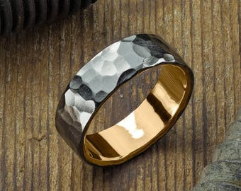 6mm 14k Yellow Gold Mens Wedding Ring, Hammered Matte Rhodium