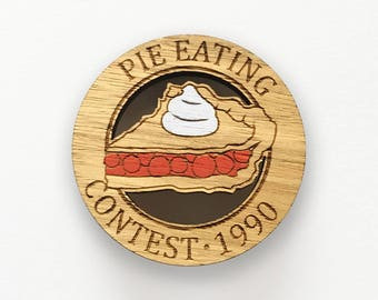 Laser cut wood brooch - Pie Eating Contest 1990 Twin Peaks Agent Cooper handpainted