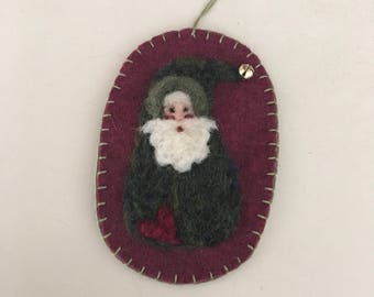 Needle Felted Santa Gnome With Green Variegated Body With Heart And A Jingle Bell