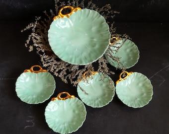 Limoges Serving Set. Green Retro Serving Set. Vintage China Serving Set with dish and bowls. Dessert bowls . Ice Cream Bowls . Appetizer set
