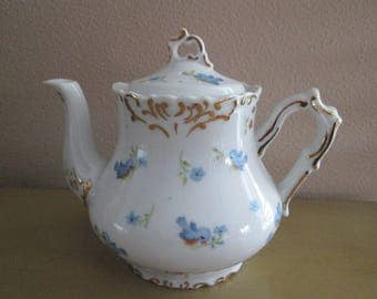 Handpainted by Sunny Tea Pot with Blue Birds and Flowers with Gold Trim