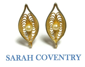 """Sarah Coventry earrings, """"Serene"""" 1969 clips, filigree leaf, faux pearl, gold plated"""