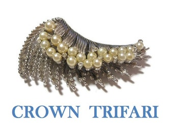 Crown Trifari brooch, 1950s early 60s large silver plated crested wave textured brooch, creamy faux pearls, small rhinestones ride the crest