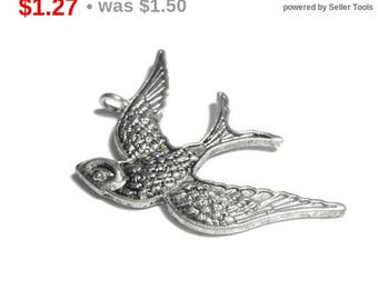 SALE Swallow pendant focal, antiqued silver plated, 39x26mm single sided bird, sold individually