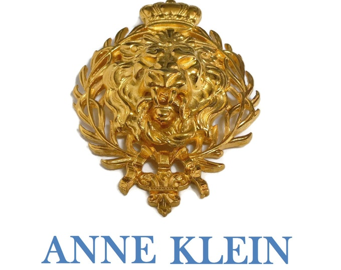Anne Klein lion brooch, signature lion brooch, figural lion crown, gold plated pin, fleur-de-lis, door knocker, laurel wreath, large lion