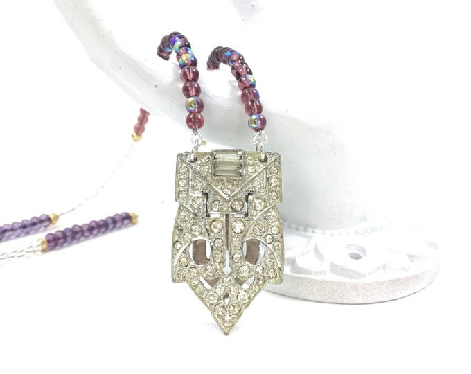 Vintage Rhinestone Dress Clip Necklace with Purple Gold