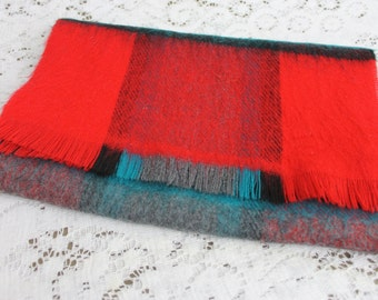Vintage Red Green/Turquoise Neck Scarf