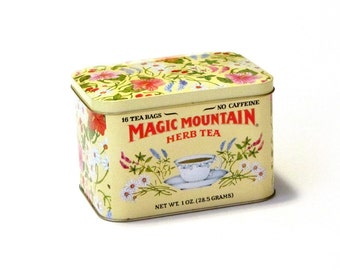 Vintage Magic Mountain Herb Tea Hinged Tin Yellow Floral 70s Made in England Stash Box Hippie Flower Power Metal Container