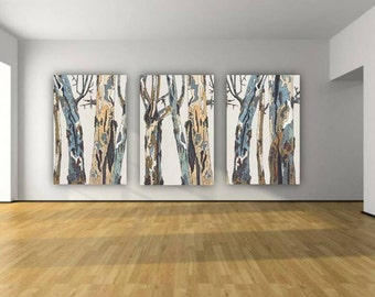 Oversized large wall art triptych white blue brown pastels canvas print tree trunks dining room living room artwork