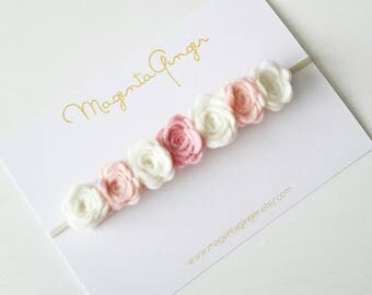 NEW Baby/ Girl Cream & Blush Rose Garland Crown Headband, Felt Flower Head Band, Can be Made in any Colour. Grat for any age.