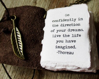 book necklace Live the life you have imagined inspirational jewelry Thoreau miniature book journal quote for women journal gift for teen