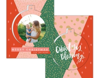 INSTANT DOWNLOAD - Christmas Pop-out card photoshop template - e1424