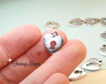 Keyhole Heart Charm, Antique Silver Tone 11 x 13 mm  - ts1154
