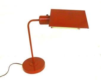 Mid Century Portable Enamel Desk Lamp,  Orange Retro Table Lamp