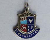 Strathpeffer Travel Shield Charm - Sterling Silver Scottish Enamel Vintage Bracelet Charm, Pendant, Charm Necklace. Scotland