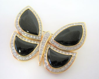 Black Rhinestone Butterfly Brooch - 70's brooch - Signed Butterfly Pin