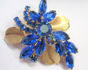 Blue Juliana Brooch - Open Back Navettes - Vintage Rhinestones -  Book Piece Pin