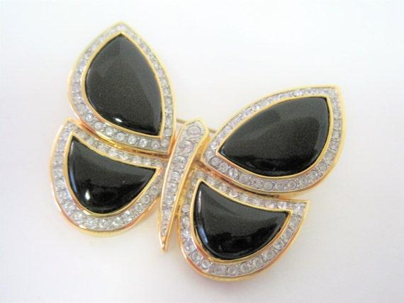 Black Rhinestone Butterfly Brooch - 70's brooch - Signed Butterfly Pin