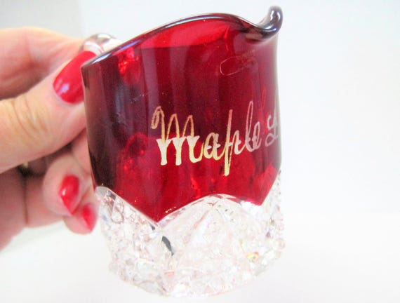Ruby Flash Glass Pitcher -  Souvenir Maple Lake - Holiday decor