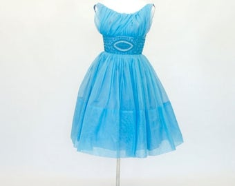 20% OFF SALE 50's / 60's Fit and Flare Prom Dress, blue Prom Dress, Cupcake Dress, Women's Small Dress, 32 Bust