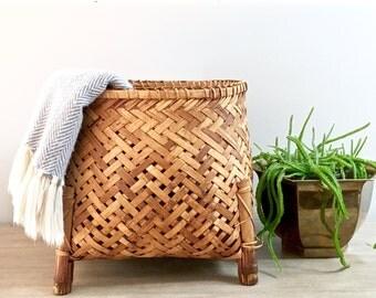 Large Vintage Woven Basket Rattan Plant Stand Planter Storage Basket Footed Honey Bamboo Reeds