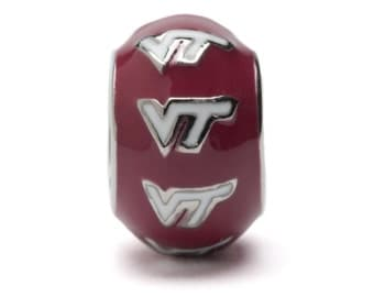 Maroon and White VT Round Virginia Tech Bead Charm - Fits Pandora