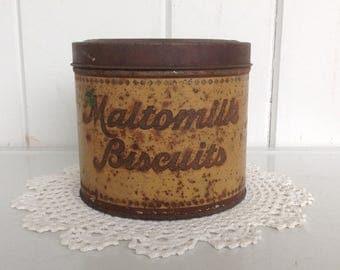 "Tin Maltomilk Biscuit Box The Felber Biscuit Co. Columbus, O. The Strietmann Biscuit Co. Cincinnati, O 4 7/8"" tall x 5 5/8"" wide"