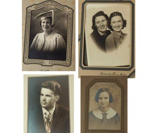 Antique Photographs- Choice of Four- Sepia- Early 1900's- portraits- In original paper folders- Vintage- Mother/daugher, graduation
