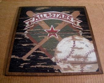BASEBALL Bat Ball Sports Vintage Art Wall Room Sign All Stars  13x13 in Wall Decor