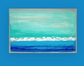 RESERVED Art Abstract Beach Acrylic Large Abstract Painting Original Art on Canvas by Ora Birenbaum Titled: Swept Away 19 24x36x1.5""