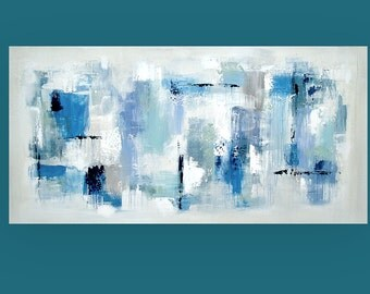Art,Painting,Acrylic,Abstract, Bright Abstract,Blue,Navy, Acrylic Painting Canvas by Ora Birenbaum Titled: Shades of Blue 24x48x1.5""