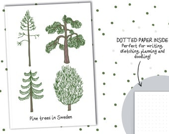 Pine trees in Sweden - Swedish Notebook - Scandinavian journal notebook - wood tree notebook - scandi notebook - holiday journal