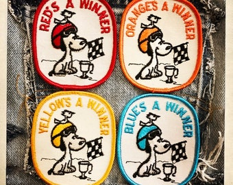SNOOPY & WOODSTOCK Racing Flag Winner Competition Patches ~ PEANUTS Authentic Vintage 60s 70s Denim Hippy Hippie Boho