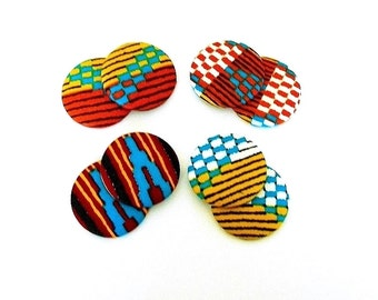 Button Fab - Traditional Multi-Color African Kente Print Fabric Buttons and Studs