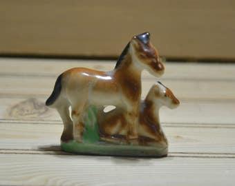Vintage Ceramic Horse Figurine Figure Mini Horses Japan Statue Home Decor Collectible